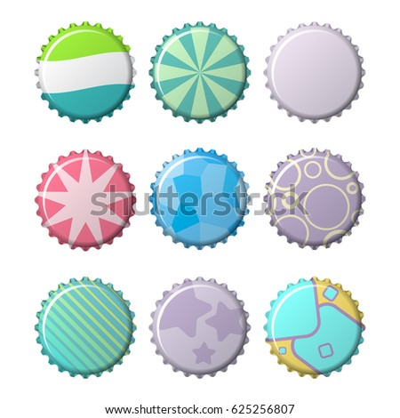 Colorful bottle caps vector set on a transparent background. set of labels in the form of bottle caps. Colorful icons