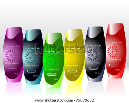 Colorful bottles with sample labels for shower gel or shampoo