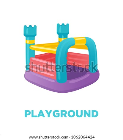 Colorful bouncy inflatable castle, tower, playground equipment for children. Vector illustration