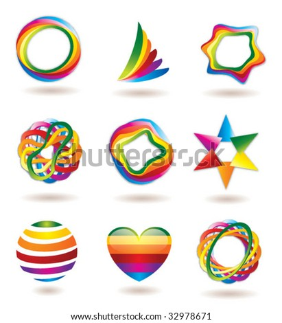 COLORFUL BRAND IDENTITY DESIGN ELEMENTS. Vector icons and symbols such as logos.