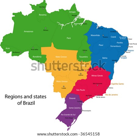 stock vector : Colorful Brazil map with regions, states and capital cities