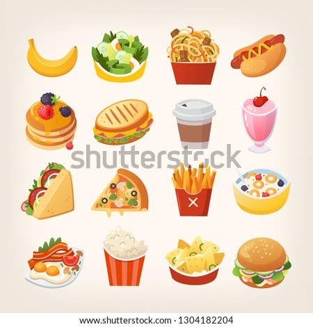 Colorful breakfast food icons. Meals and snacks for a quick lunch. Isolated vector illustrations