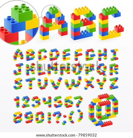 Colorful brick toys font with numbers. Vector illustration.