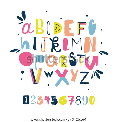 Colorful bright alphabet with numbers.