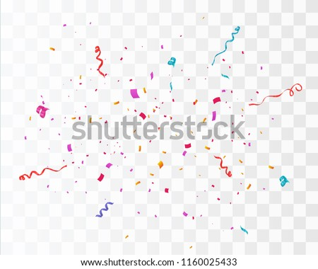 Colorful bright confetti background. Confetti burst. Festive vector illustration