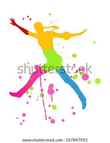 Colorful bright ink splashes and happy person- teenager or woman in front of them