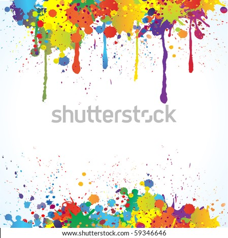 Colorful bright ink splashes on white background
