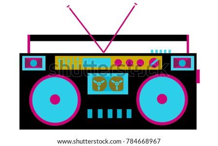 Colorful, bright, retro audio tape recorder. The 80's Stereo System
