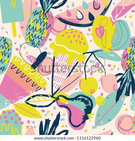 Colorful bright summer pattern with fruits and ice cream. VECTOR. EPS 10.