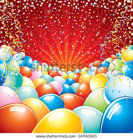 Colorful brightly backdrop with balloons, confetti, ribbons... -for your text or design.-MORE SIMILAR BACKGROUNDS SEE AT MY GALLERY