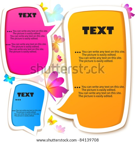 Colorful bubble for speech.  Butterflies background