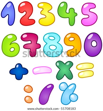 colorful bubble shaped numbers