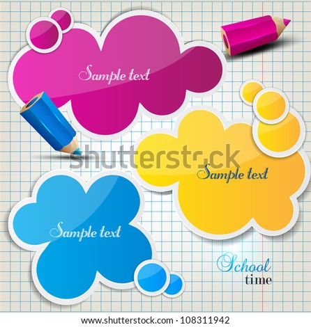 Colorful bubbles for speech on checkered sheet