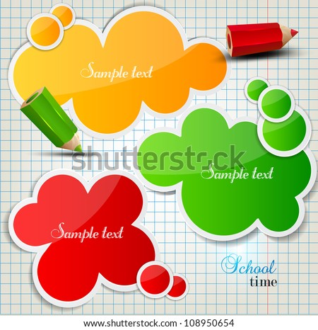 Colorful bubbles for speech on chequered sheet