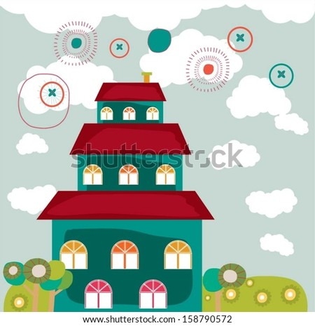 Colorful building design vector background.