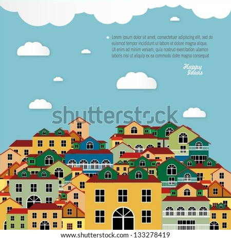 Colorful buildings design vector background