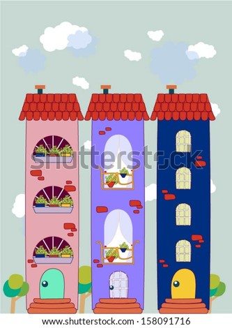 Colorful buildings design vector background.