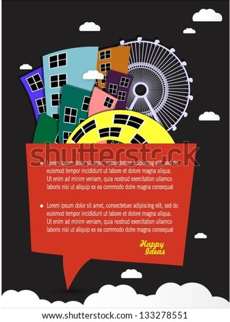 Colorful buildings design with speech bubble vector background