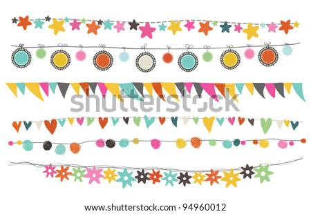 colorful buntings  garlands and