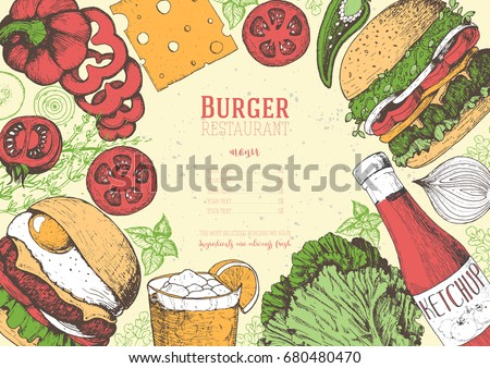 Colorful burgers and ingredients for burgers vector illustration. Fast food, junk food frame. American food. Elements for burgers restaurant menu design. Engraved style image.