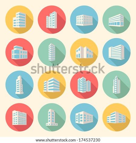 colorful business buildings flat design icons set. template elements for web and mobile applications
