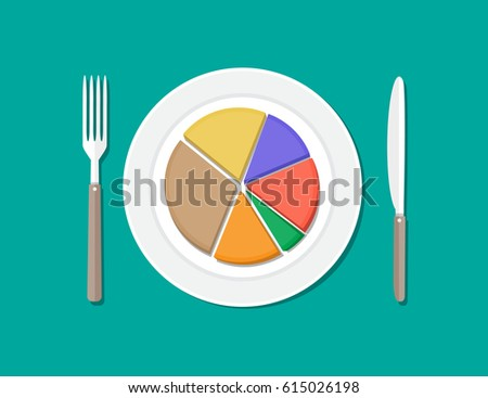 Colorful business chart pie on plate with fork and knife. Business lunch. Vector illustration in flat style #615026198