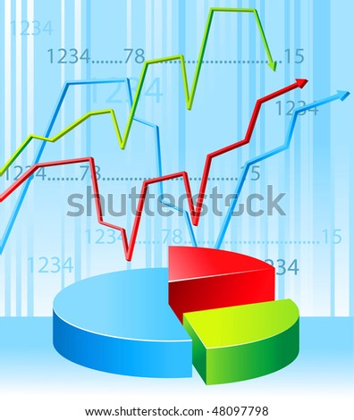 colorful business graph - stock vector
