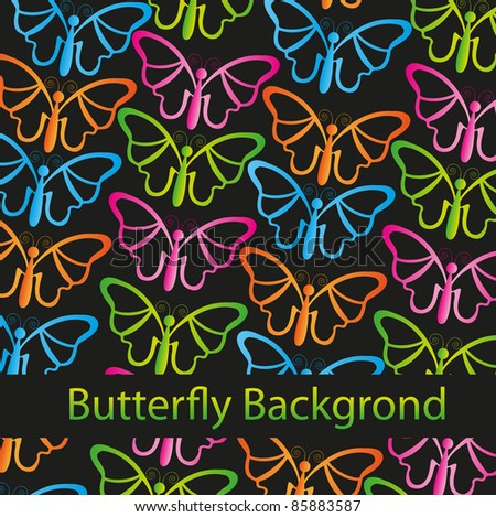 colorful butterflies isolated over black background. vector