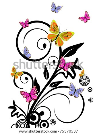 colorful butterflies - vector