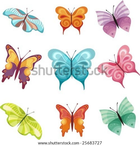 colorful butterfly set
