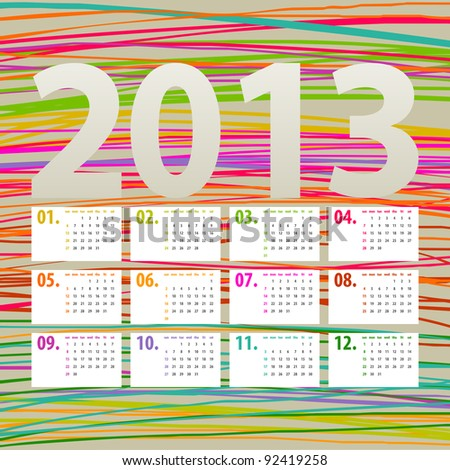 colorful 2013 calendar design - week starts with sunday