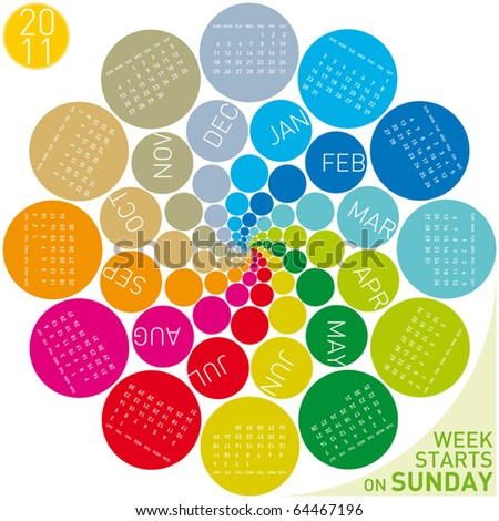 colorful calendar for 2011. Circular design. Week starts on Sunday