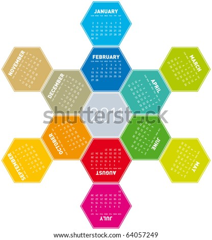 Colorful Calendar for year 2011 in an hexagonal pattern. in vector format