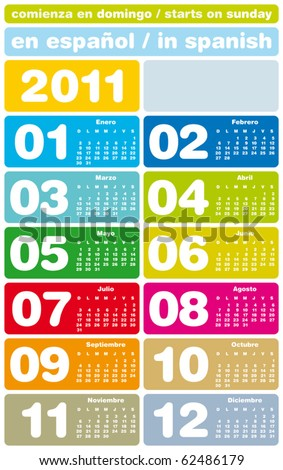 Colorful Calendar for Year 2011, in Spanish. Week starts on Sunday.