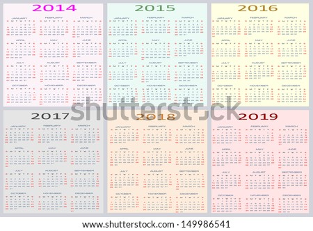 Calendar 2014 Through 2019 Colorful Calendar for years 2014   2019… Stock Photo 150262547