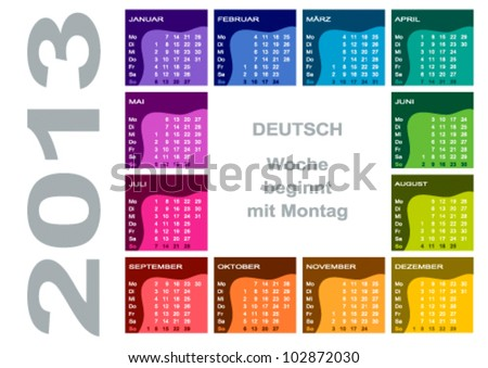 Colorful Calendar 2013 (German - Monday first)