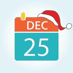 Colorful calendar icon with Santa hat - Dec 25