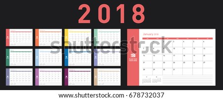 Colorful calendar Layout for 2018 years. Week starts from Sunday.