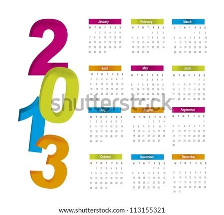 colorful 2013 calendar over white background. vector illustration