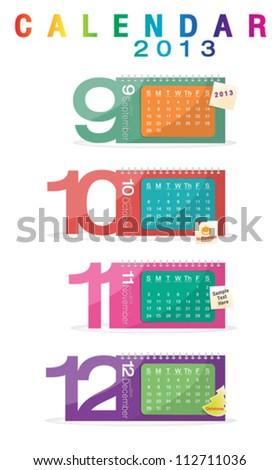 Colorful calendar 2013, september, october, november, december