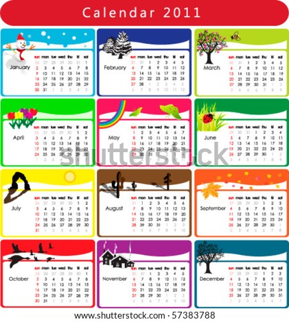 Colorful Calendar 2011 with various seasonal objects