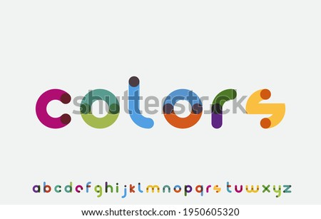 colorful calligraphy alphabet small lettering a to z font family Stok fotoğraf ©