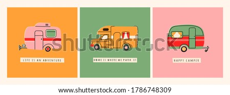 Colorful Camper RV. Road home Trailer. Recreational vehicle. Camping caravan car. Holiday trip concept. Mobile home for country and nature vacation. Set of three Hand drawn Vector illustrations Stock foto ©