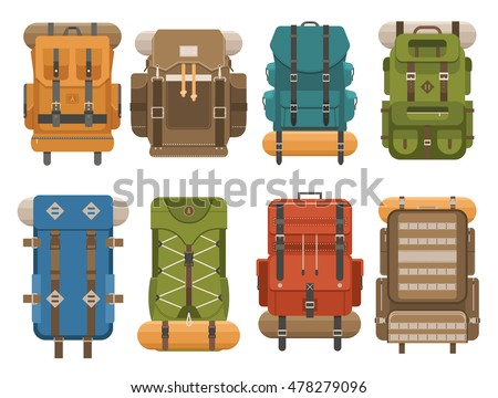 Shutterstock Colorful camping backpack set in flat design. Tourist retro back packs vector illustration. Classic styled hiking backpacks with sleeping bags. Camp and hike bags and knapsacks.