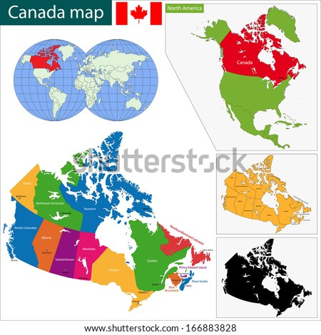 colorful canada map with
