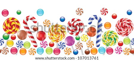 colorful candies, fruit bonbon, lollipop seamless horizontal background