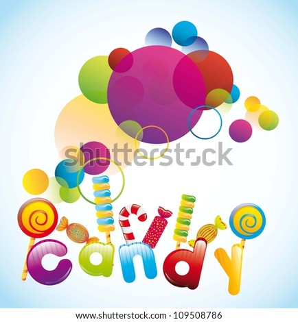 colorful candies over blue background. vector illustration