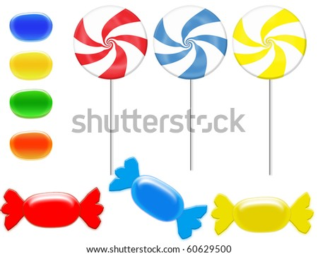 colorful candies vector illustration on white background