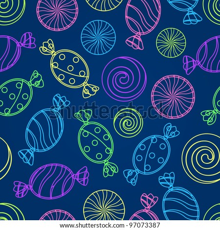 Colorful Candy Silhouette Seamless Pattern on Dark Blue Background