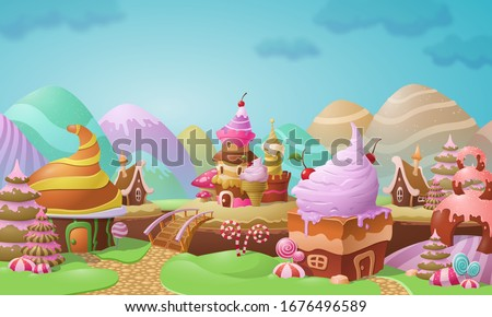 Colorful candy town landscape with confectionery and ice cream twirls on ginger bread and cookie houses decorated with candy against colorful Easter egg hills, vector illustration
